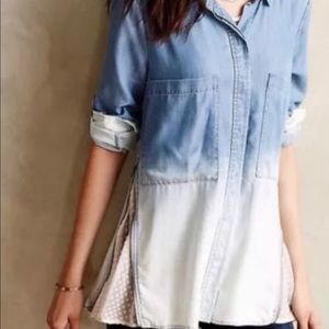 Anthropologie Size 4 Chambray Ombre Top Dip Dye